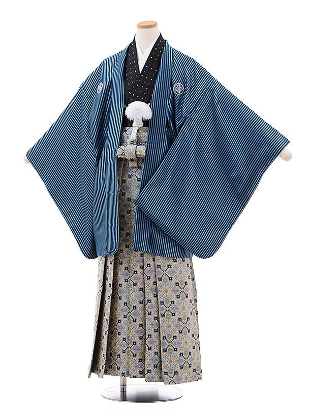 小学校卒業式袴(男児) Z023 ブルーストライプ 紋付×ベージュ袴