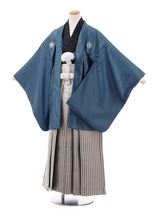 小学校卒業式袴(男児) Z024 ブルーストライプ 紋付×シルバーストライプ袴
