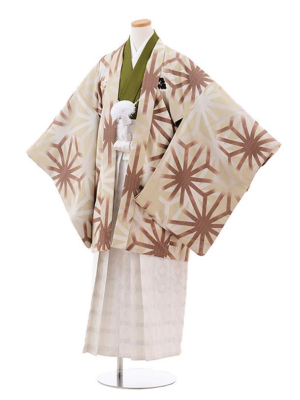 小学校卒業式袴(男児) Z025 九重 ベージュ 麻の葉×白袴
