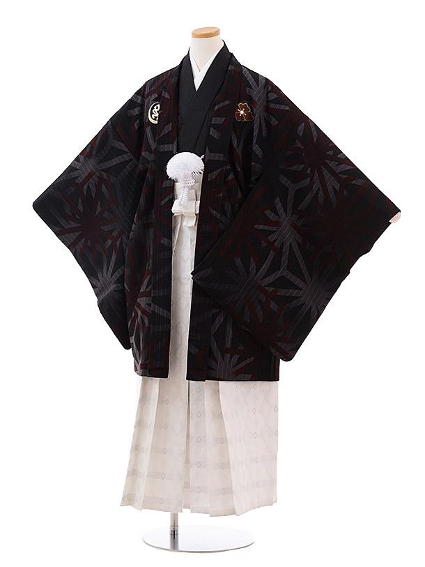小学校卒業式袴(男児) Z026 九重 黒 麻の葉×白袴