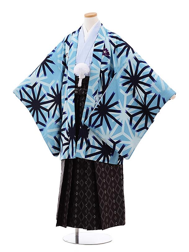 小学校 卒業式 男の子 袴 Z027 九重 水色 麻の葉×黒袴