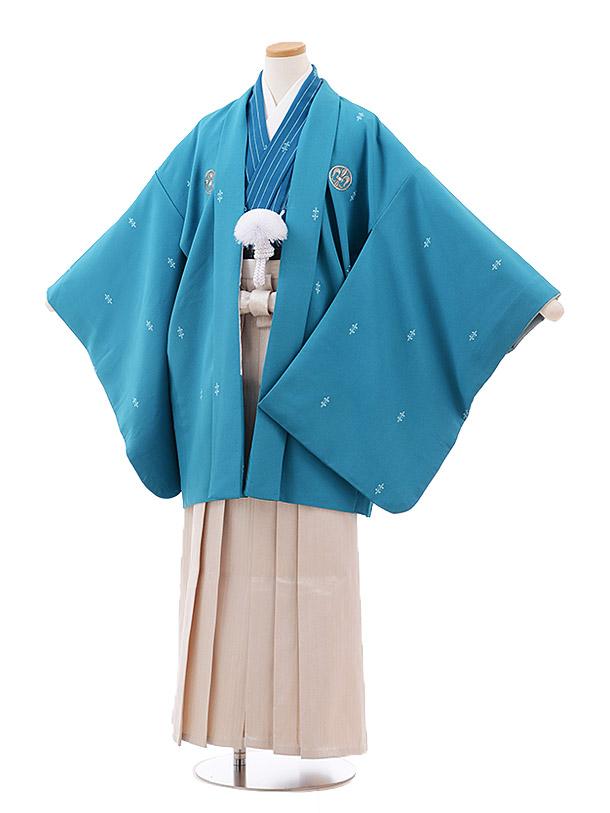 小学校卒業式袴(男児) Z028 おりびと ターコイズ 紋付×ベージュ袴
