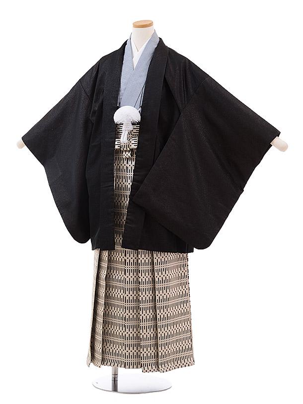 小学校卒業式袴(男児) Z029 おりびと 黒ラメ×ベージュ 袴