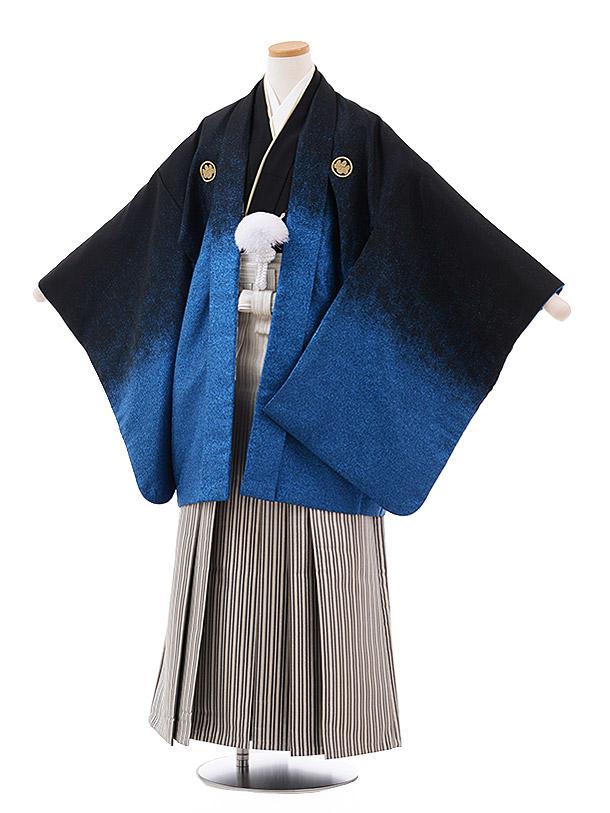 小学校卒業式袴(男児) Z030おりびとブルーラメぼかし紋付×シルバーストライプ袴