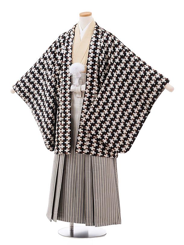 小学校卒業式袴(男児) Z031おりびとアイボリーブラウンチェック×銀ストライプ袴