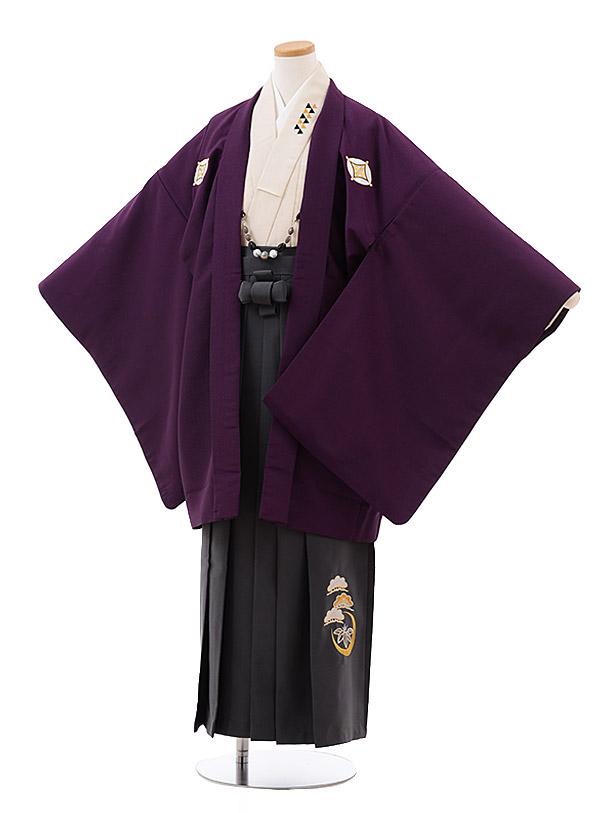 小学校卒業式袴(男児) Z033 パープル しゃれ紋×グレー袴