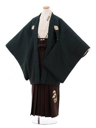 小学校 卒業式 男の子 袴 Z034 ダークグリーン しゃれ紋×ブラウン袴