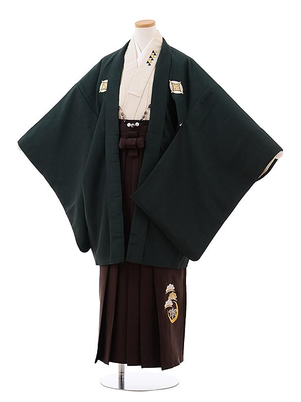 小学校卒業式袴(男児) Z034 ダークグリーン しゃれ紋×ブラウン袴