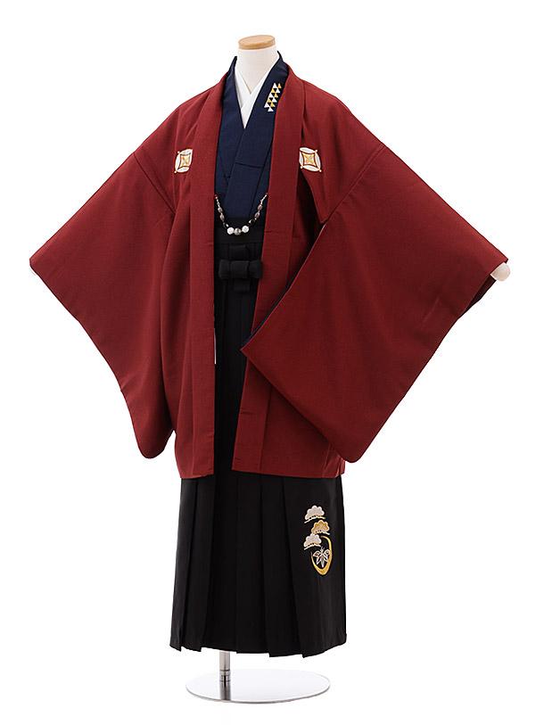 小学校卒業式袴(男児) Z035 エンジ しゃれ紋×黒袴