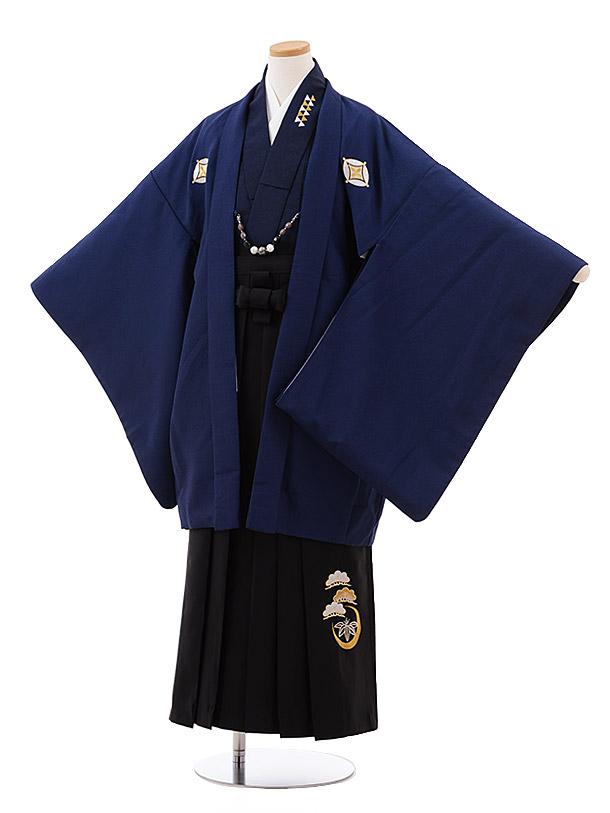 小学校卒業式袴(男児) Z036 紺 しゃれ紋×黒袴