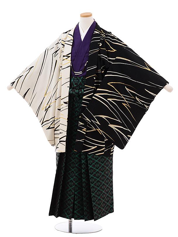 ジュニア袴男児 Z047 JAPANSTYLE 黒 白×茶 グリーンラメ菱袴
