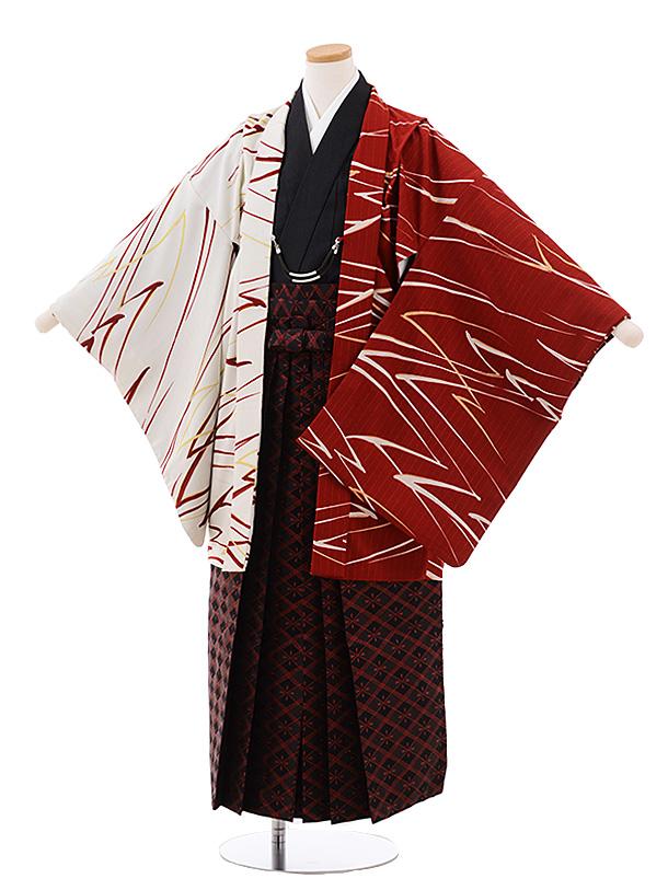 ジュニア袴男児Z049 JAPANSTYLE 白 赤×黒 赤ラメ菱袴
