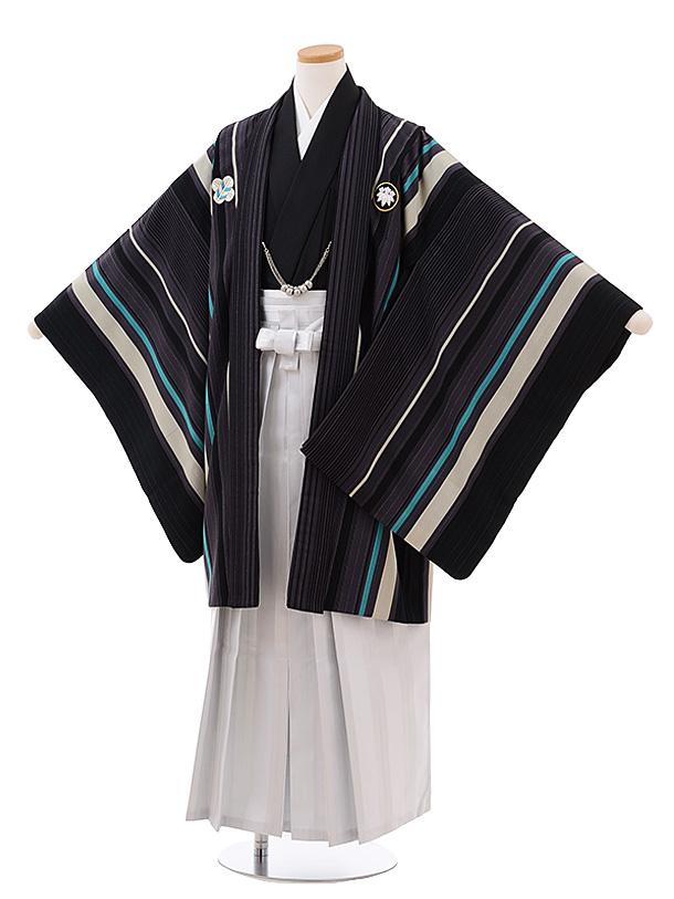 ジュニア袴男児Z052 九重 ブラウン パープル ストライプ×白袴