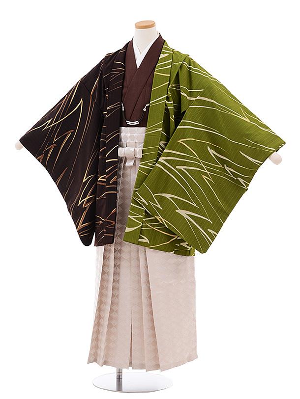 ジュニア袴男児Z054JAPANSTYLE茶グリーン×茶ベージュラメ菱袴