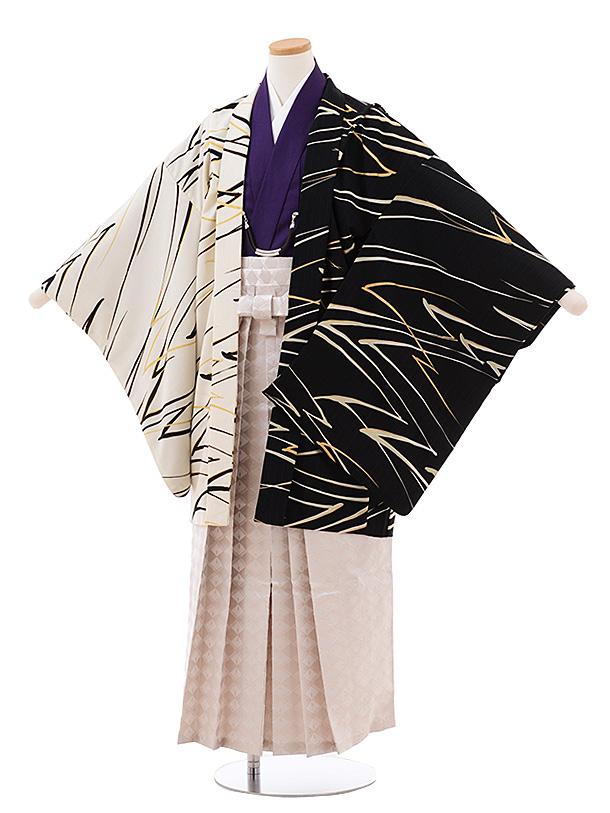 ジュニア袴男児Z056 JAPANSTYLE 黒 白×ベージュラメ菱袴