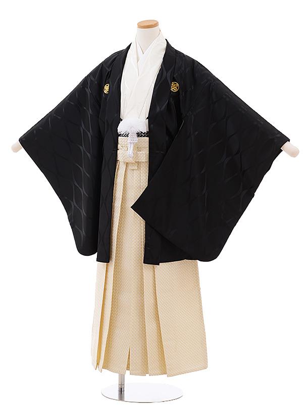 ジュニア袴男児Z057 黒紋付×クリームゴールド袴