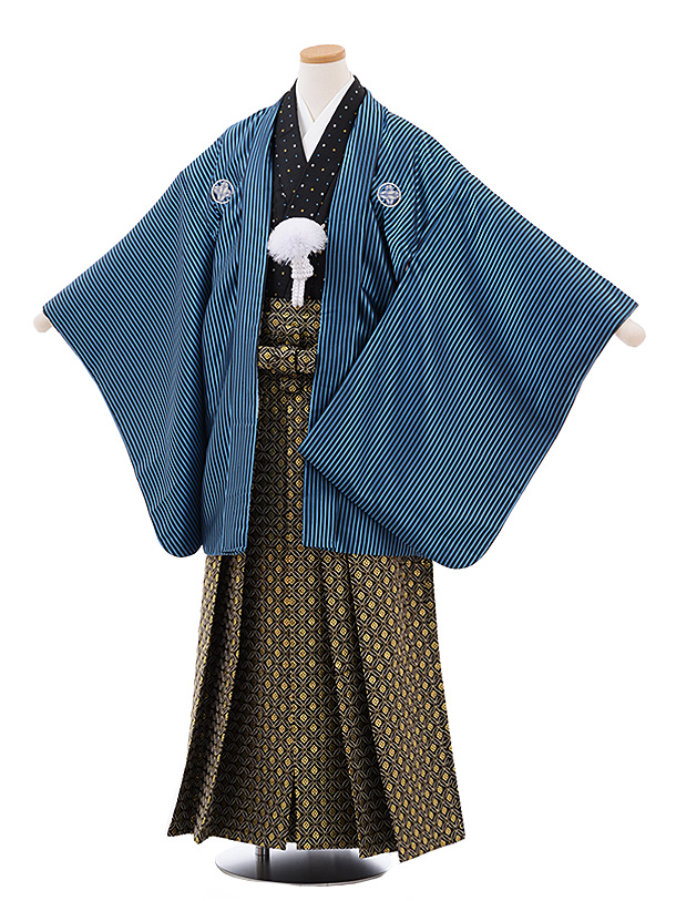 ジュニア袴男児Z065 ブルーストライプ紋付×黒ゴールド袴