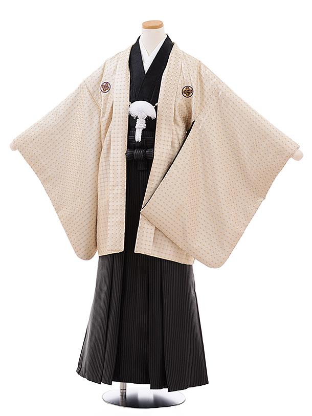 ジュニア袴男児 Z066 ベージュドット紋付×黒ストライプ袴