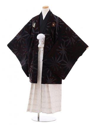 小学生 卒業式 男の子 袴 Z080 九重 黒 麻の葉×白袴