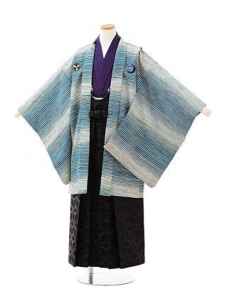 ジュニア袴男児Z168 九重白緑縞シャレ紋×黒袴