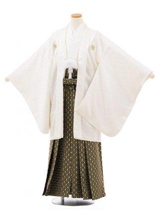 小学生卒業袴レンタルZ174白紋付x黒ゴールド袴