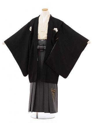 小学生卒業袴レンタルZ175黒しゃれ紋xグレー袴