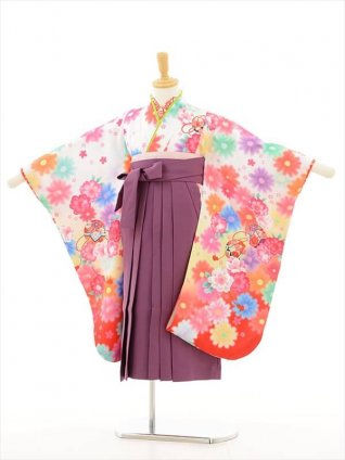 女児袴(5女)0604 白地花×紫袴