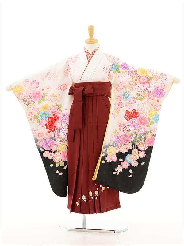 女児袴(7女)0771 チャイルドール白×あず