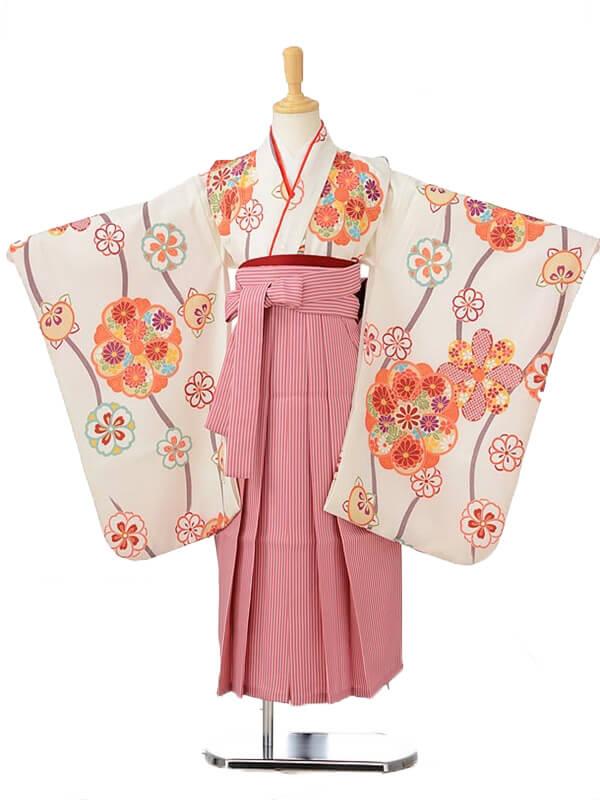 ジュニア(女の子袴)レンタル0789白地花柄