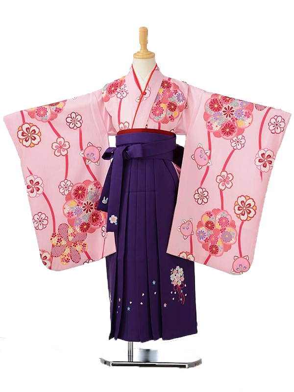 ジュニア(女の子袴)レンタル0792ピンク地花柄