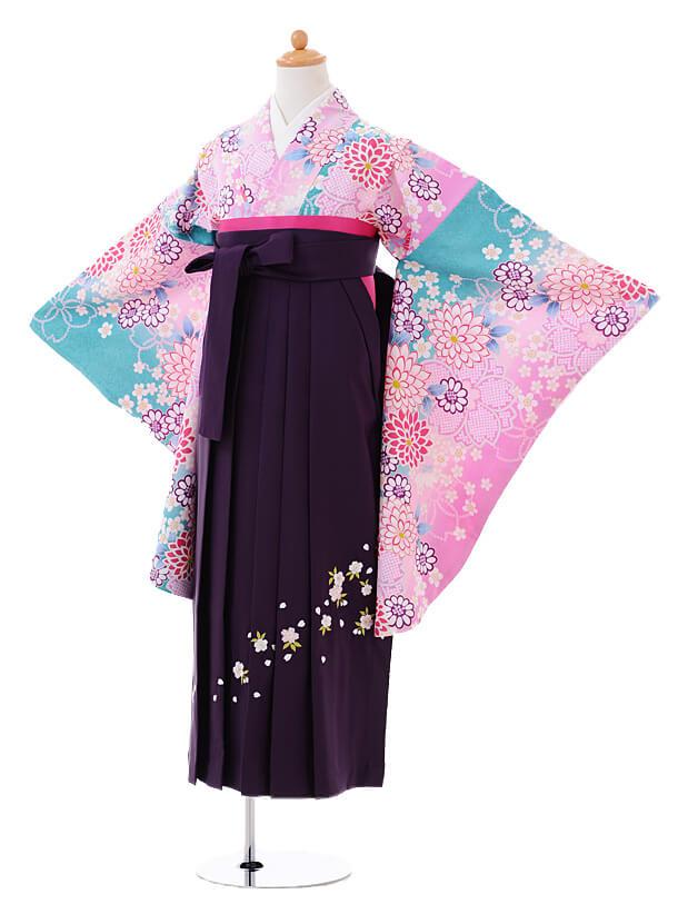 小学生卒業式袴女児0984ピンク水色ぼかし花×紫袴