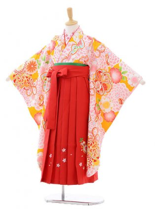 女児袴(7女)7271 ピンク大花にまり×赤袴
