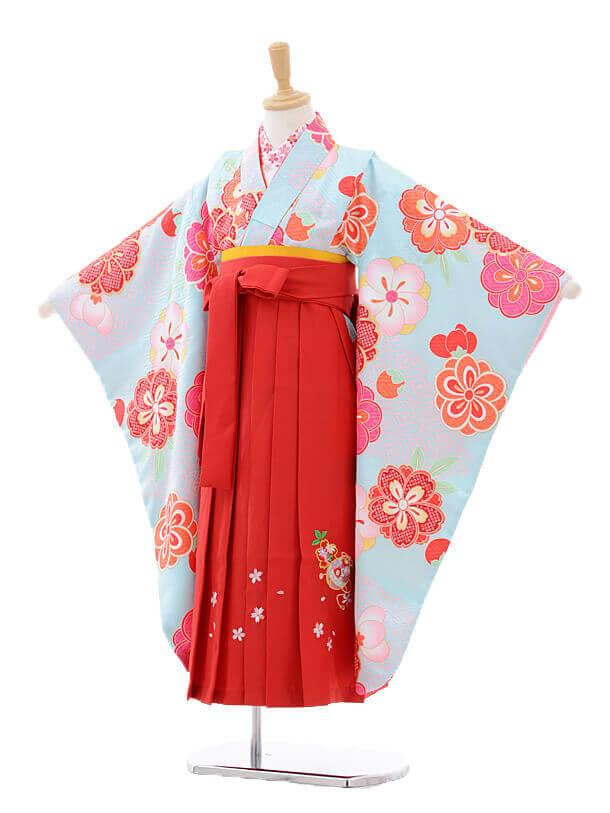 女児袴(7女)7273 水色梅桜×赤袴