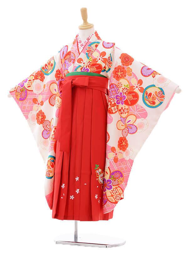女児袴(7女)7274白地にピンク雲取梅×赤袴