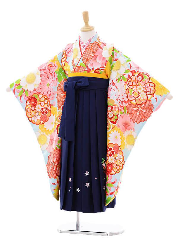 女児袴(7女)7278 水色花づくし×紺袴