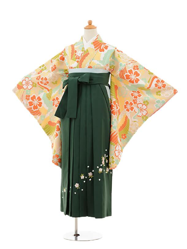 ジュニア袴女児9136 クリーム鶴桜×グリーン袴