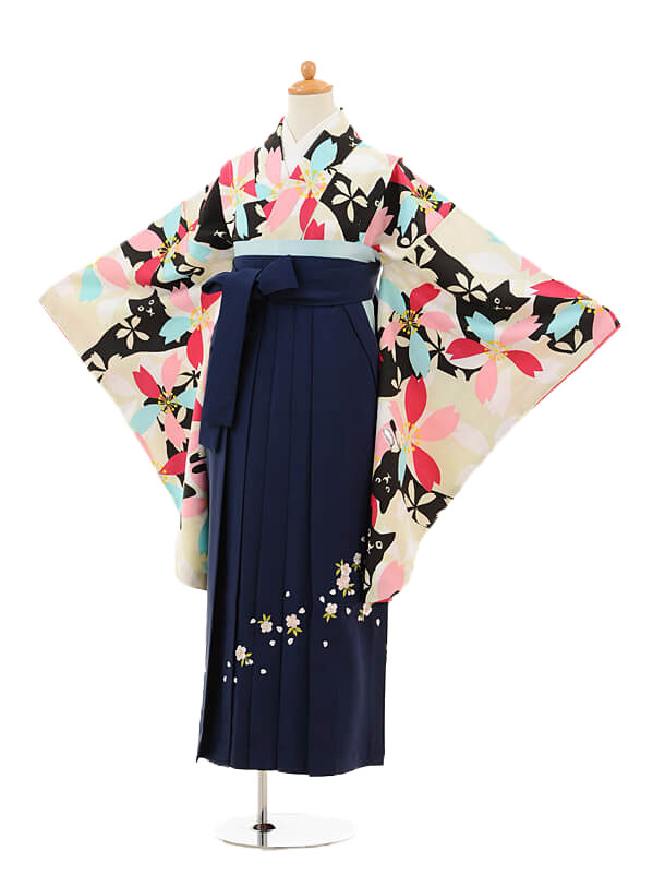 ジュニア袴女児9141 ベージュ黒猫と桜×紺袴