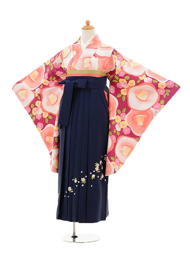 ジュニア袴女児9142 ワイン椿×紺袴