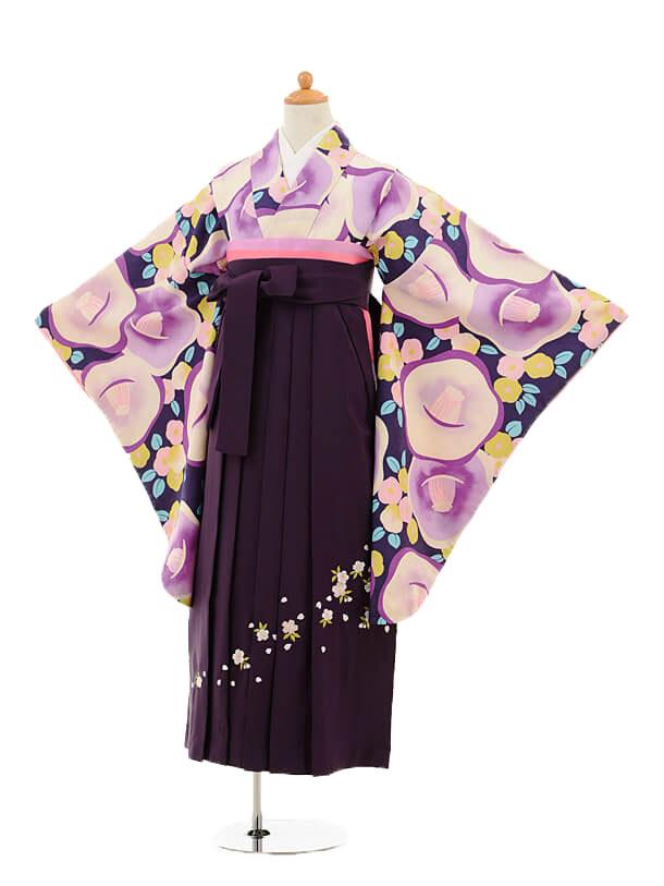 ジュニア袴女児9150 紫地椿×パープル袴