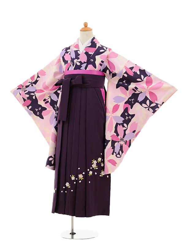 ジュニア袴女児9151 ピンク地桜と猫×パープル袴