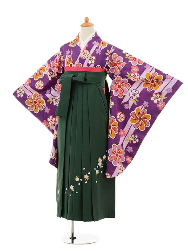 ジュニア袴女児9155 紫矢絣梅×グリーン袴