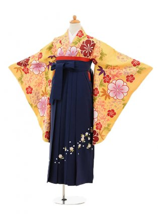 小学生卒業式袴レンタル(女の子)9161 黄色牡丹×紺袴