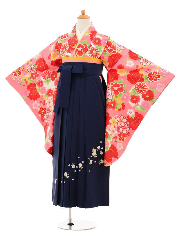 小学生卒業式袴女児9163 ピンク雪輪に花×紺