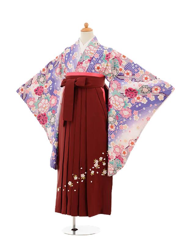 ジュニア袴女児9152 黒地鶴梅×パープル袴