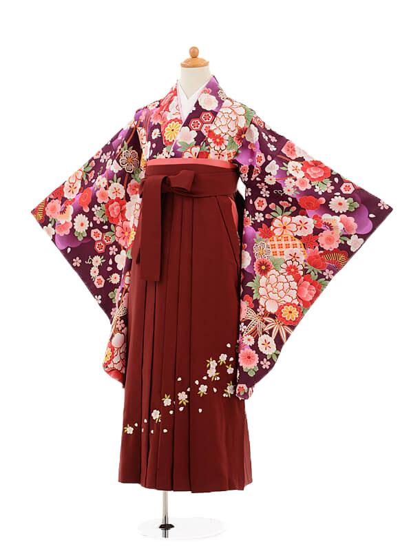 ジュニア袴女児9174 紫地花×エンジ袴