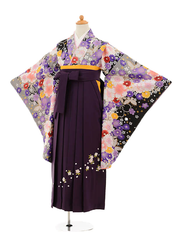 ジュニア袴女児9182 黒地グレーぼかし花×パープル