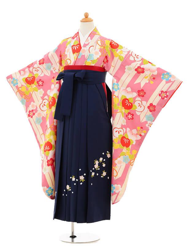 小学生卒業式袴女児9190 ピンク矢絣橘×紺袴