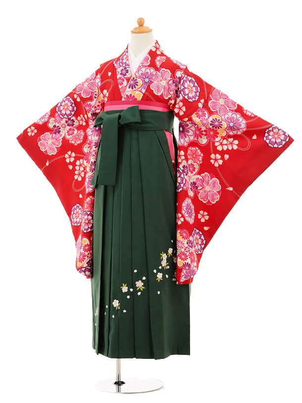 小学生卒業式袴女児9193 赤地花×グリーン袴