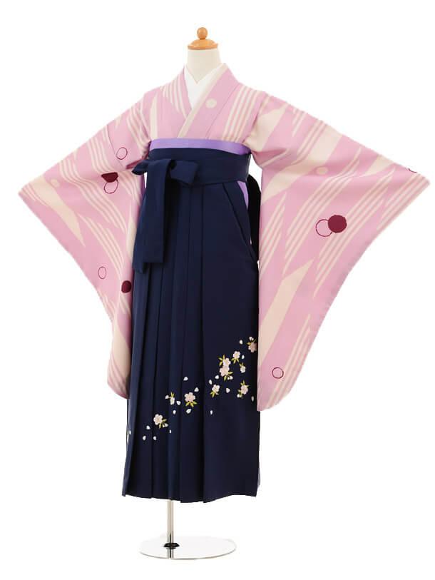 小学生卒業式袴女児9214 薄紫ストライプ×紺袴