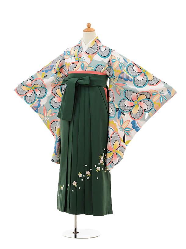 小学生卒業式袴女児9224 白地水色梅×グリーン袴